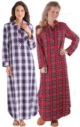 Models wearing Snowfall Plaid Flannel Nighty and Stewart Plaid Flannel Nighty. image number 0