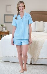 Model standing by bed wearing Light Blue and White Polka Dot Oh-So-Soft Pin Dot Short Set image number 1