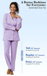 A Better Bedtime for Everyone - Extended Size PJs. Tall PJs: 33' inseam for women 5'7 to 5'9 tall. Regular PJs: 31' inseam. For women 5'4 to 5'6 tall. Petite PJs: 29' inseam. For women 4'22 to 5'3 tall. image number 6