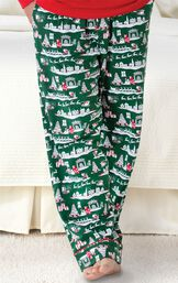Close-up of the full-length Green pants with Red and White graphic on The Night Before Christmas Men's Pajamas image number 3