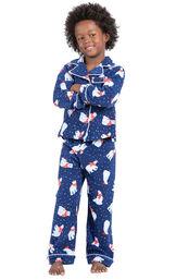 Model wearing Navy Polar Bear Fleece Button-Front PJ for Kids image number 0