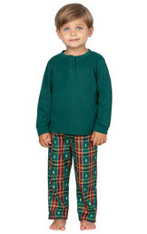 Model wearing Red and Green Christmas Tree Plaid Thermal Top PJ for Toddlers