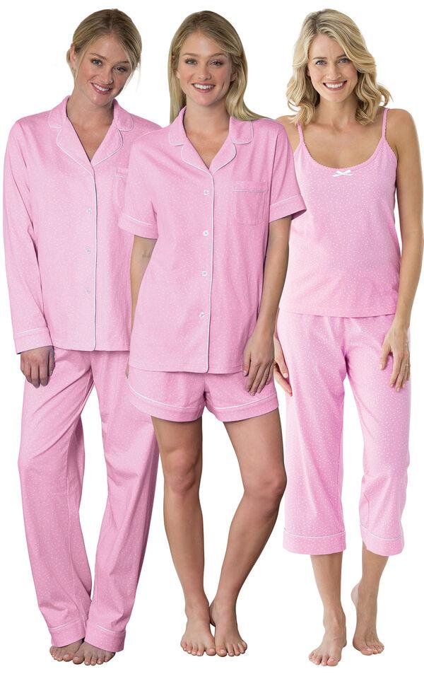 Models wearing Classic Polka-Dot Capri Pajamas - Pink, Classic Polka-Dot Short Set - Pink and Classic Polka-Dot Boyfriend Pajamas - Pink. image number 0