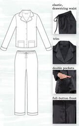 A technical drawing of Black Satin PJs highlighting the following features - elastic, drawstring waist, trim, double pockets and full-button front image number 3