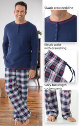 Close-ups of the features of Snowfall Plaid Men's Pajamas which include a classic crew neckline, elastic waist with drawstring and cozy full-length cotton pants image number 2