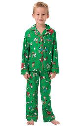 Model wearing Green Charlie Brown Christmas PJ for Kids image number 0