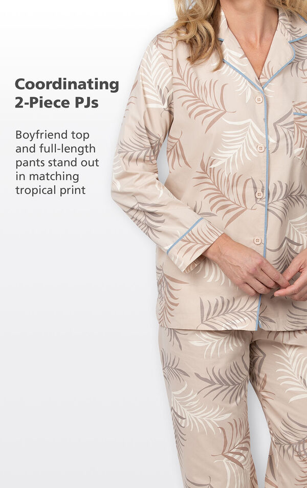 Tan coordinating 2-piece PJs with light blue trim - boyfriend top and full-length pants stand out in matching tropical print image number 3