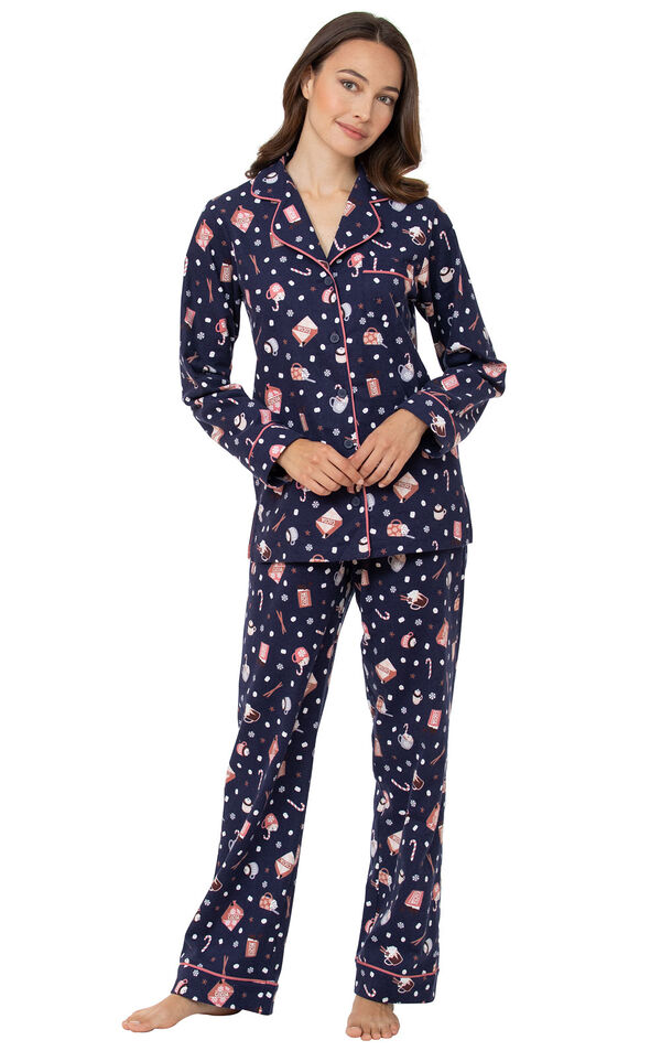 Mugs & Kisses Flannel Boyfriend Pajamas image number 0