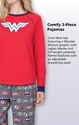 Crew neck top featuring a Wonder Woman Graphic on Women's PJs with raglan sleeves, and full-length polyester flannel bottoms with an adjustable, drawstring waist. image number 3