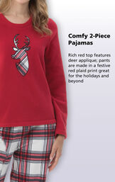 Rich red top features deer applique; pants are made in a festive red plaid print great for the holidays and beyond image number 3