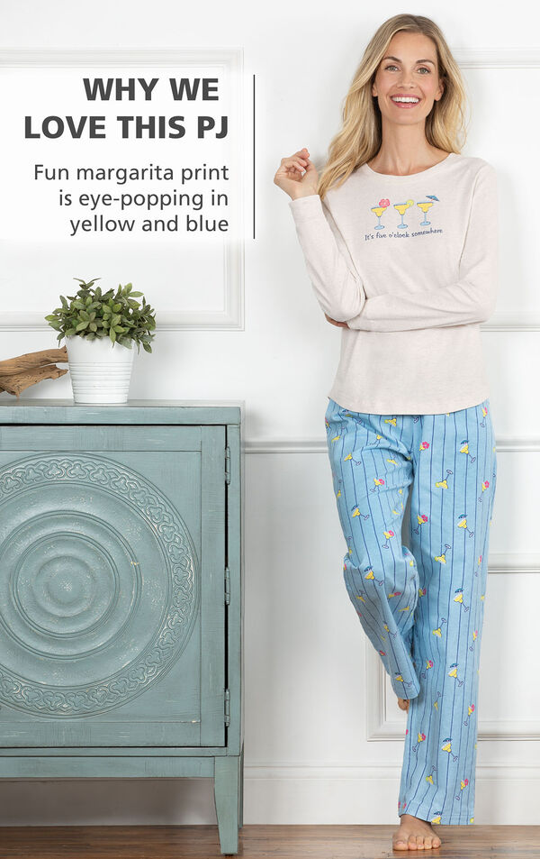 Model wearing Margaritaville Island Time Pajamas - Cocktail O'Clock print with the following copy: Fun margarita print is eye-popping in yellow and blue image number 2