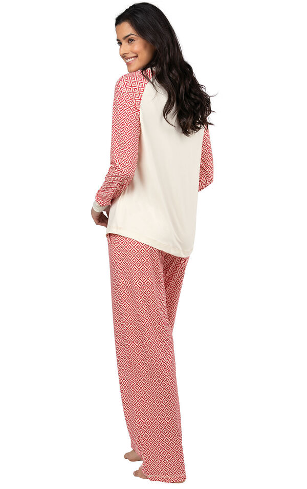 Model wearing Whisper Knit Henley Pajamas - Red Print, facing away from the camera image number 1