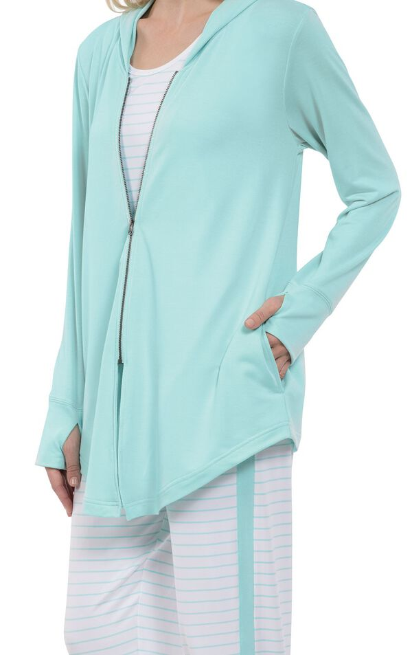 Close-up of Mint zip-up hooded top image number 3