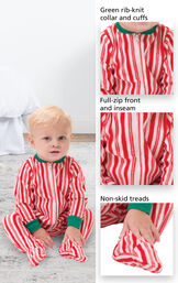 Candy Cane fleece pajamas feature a green rib-knit collar and cuffs, full-zip front and inseam and non-skid treads image number 1