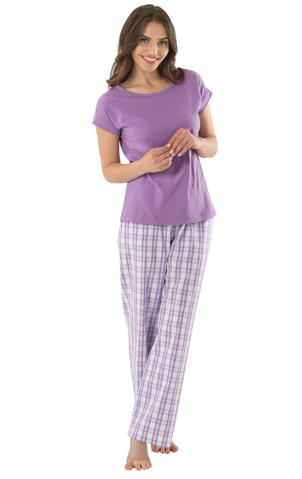 Model wearing Light Purple Plaid PJ for Women image number 0