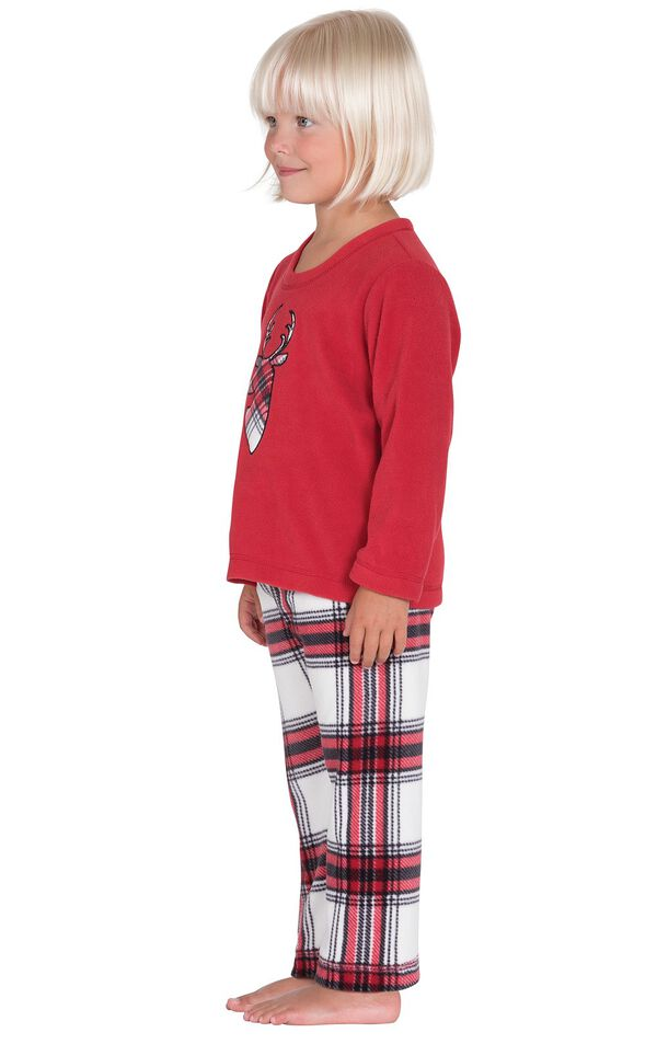 Model wearing Red and White Plaid Fleece PJ for Toddlers, facing to the side image number 2