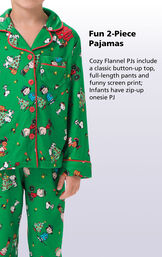 Cozy Flannel PJs include a classic button-up top, full-lengths pants and funny screen print; infants have zip-up onesie PJ image number 2