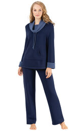 Model wearing World's Softest Navy Cowl-Neck Pajama Set for Women image number 0
