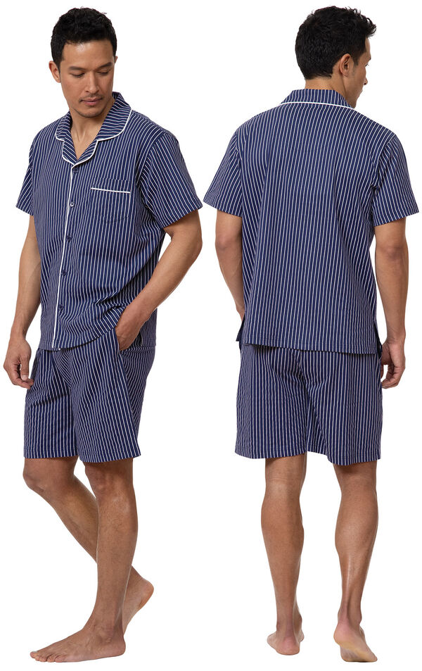 Model wearing Navy Stripe Short Sleeve Button-Front Short Set for Men, facing away from the camera and then facing towards the side image number 1