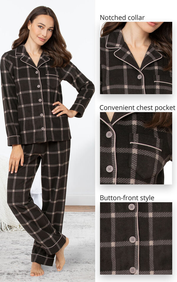Charcoal Check Fleece Boyfriend Pajamas feature a notched collar, convenient chest pocket and button-front style image number 3