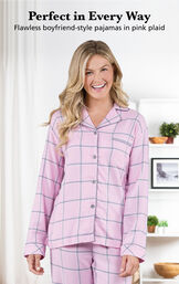 Model wearing World's Softest Flannel Boyfriend Pajamas  with the following copy: Perfect in Every Way - flawless boyfriend-style pajamas in pink plaid image number 3