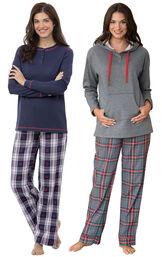 Models wearing Snowfall Plaid Petite Pajamas and Gray Plaid Hooded Petite Pajamas. image number 0