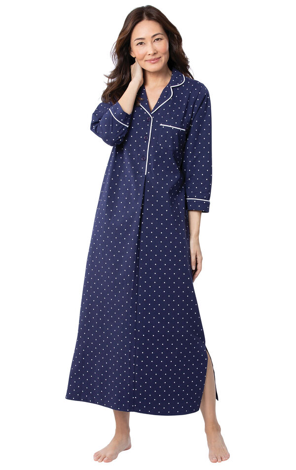 Model wearing Navy Blue and White Polka Dot Gown for Women image number 0