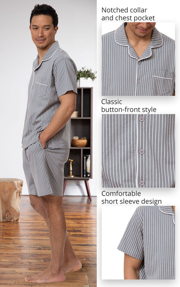 Cotton Button-Front Short Set Pajamas for Men image number 3