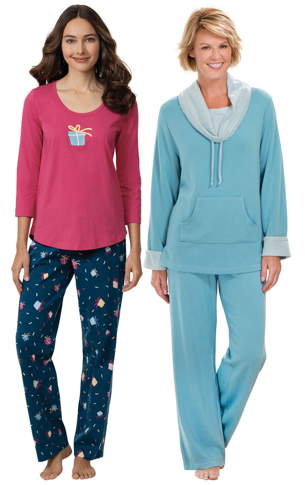 Models wearing Let's Celebrate Pajamas - Navy and World's Softest Pajamas - Teal image number 0