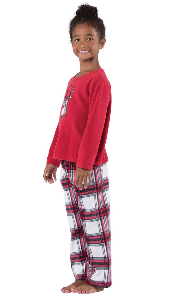 Model wearing Red and White Plaid Fleece PJ for Girls, facing to the side image number 2