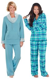 Models wearing World's Softest Pajamas - Teal and Wintergreen Plaid Boyfriend Flannel Pajamas.