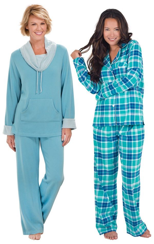Models wearing World's Softest Pajamas - Teal and Wintergreen Plaid Boyfriend Flannel Pajamas. image number 0