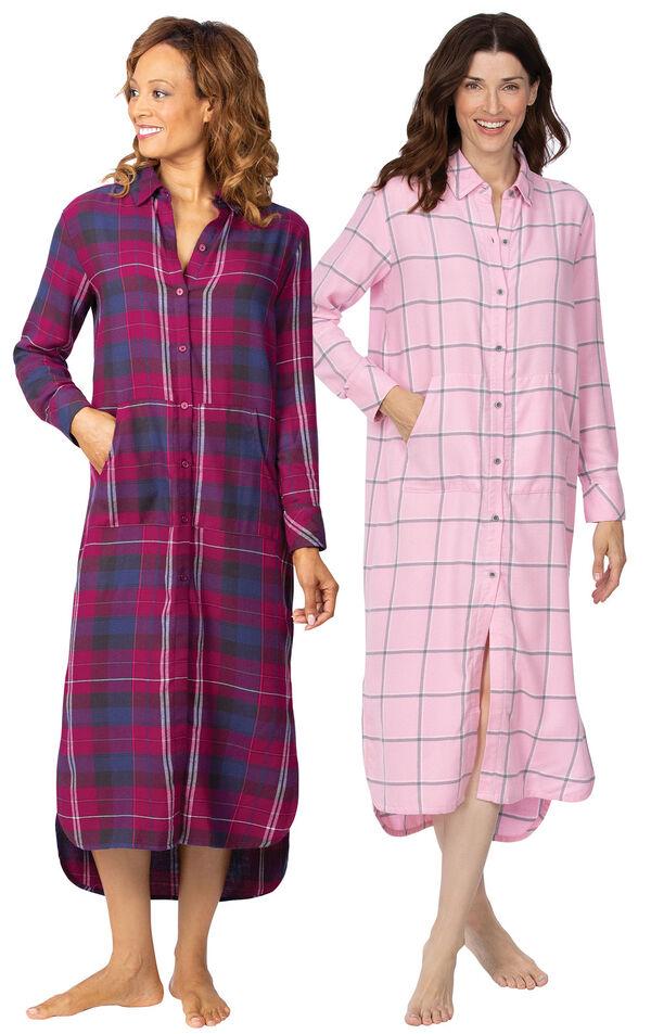 Models wearing World's Softest Flannel Sleepshirt - Black Cherry and World's Softest Flannel Sleepshirt - Pink. image number 0