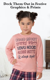 Plum Plaid PJ with Graphic Tee for Youth image number 2