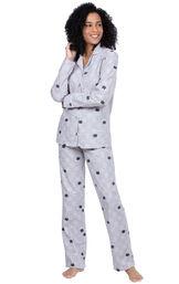Addison Meadow|PajamaGram Slim Fit Boyfriend PJs in Gray Cat Flannel image number 0