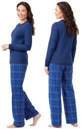 Model wearing Indigo Plaid Flannel PJ for Women, facing away from the camera and then to the side image number 1