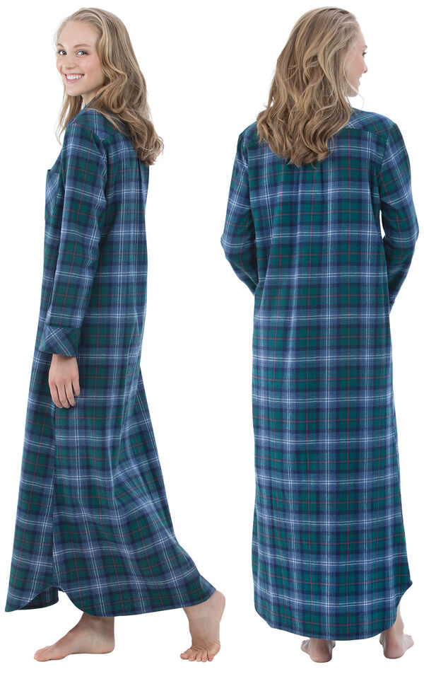 Model wearing Green and Blue Plaid Gown for Women, facing away from the camera and then to the side image number 1