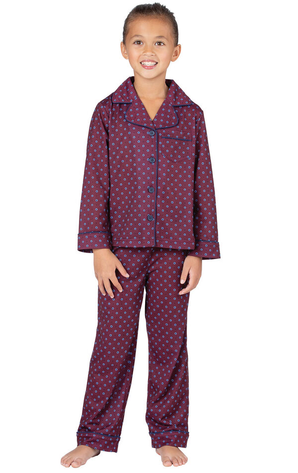 Model wearing Deep Red Print Button-Front PJ for Girls image number 0