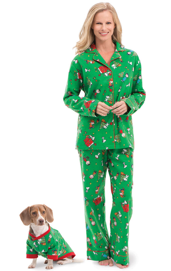 Models wearing Green Charlie Brown Christmas PJ for Pet and Owner image number 0