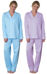 Models wearing Classic Polka-Dot Boyfriend Pajamas - Blue and Classic Polka-Dot Boyfriend Pajamas - Lavender.