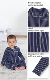 Close-ups of Classic Stripe Pajamas - Navy features which include a notched collar and chest pocket, classic button-front style and long sleeves with cuffs and piping image number 1