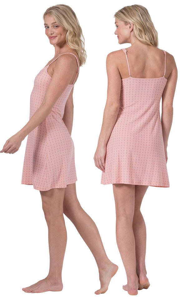 Model wearing Light Pink Stretch Knit Geo Print Chemise for Women, facing away from the camera and then facing to the side image number 1