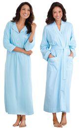 Models wearing Classic Polka-Dot Nighty - Blue and Classic Polka-Dot Robe - Blue. image number 0