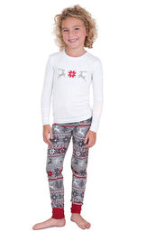 Model wearing Red and Gray Fair Isle PJ for Girls
