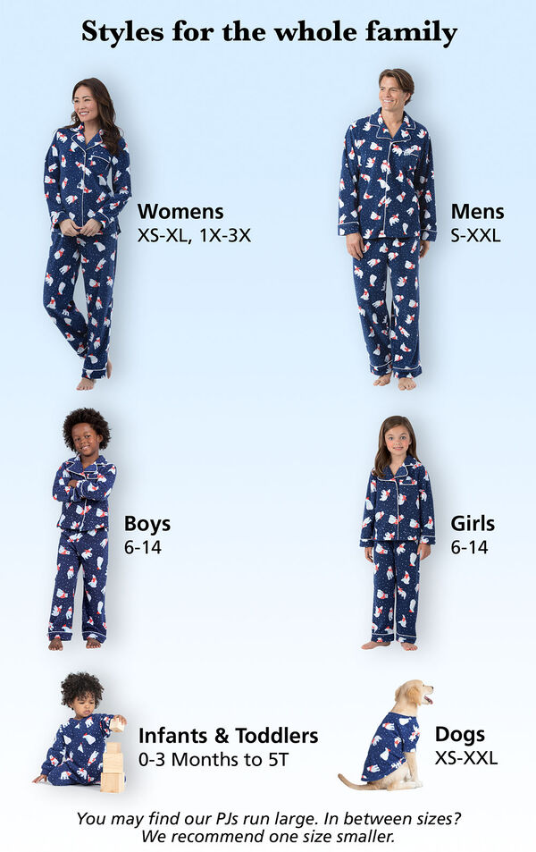 Every family member wearing matching Polar Bear Fleece PJs with the following sizes displayed: Women XS-XL, 1X-3X (Dress Sizes 2-26), Mens S-XXL, Boys and Girls Size 6-14, Infants/Toddlers Sizes 0-3 months - 5T, Dog: XS-XXL image number 4