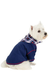 Model wearing Dark Blue Snowflake Plaid PJ - Pet