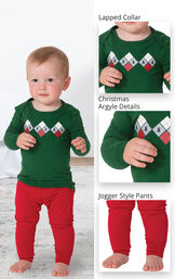 Holiday Argyle Infant Pajamas feature a lapped collar, christmas argyle details and jogger style pants image number 3