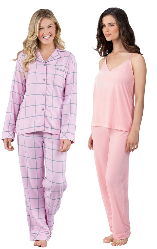 Models wearing World's Softest Flannel Boyfriend Pajamas - Pink and Velour Cami Pajamas - Pink. image number 0
