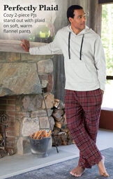Burgundy Plaid Hooded Men's Pajamas image number 1