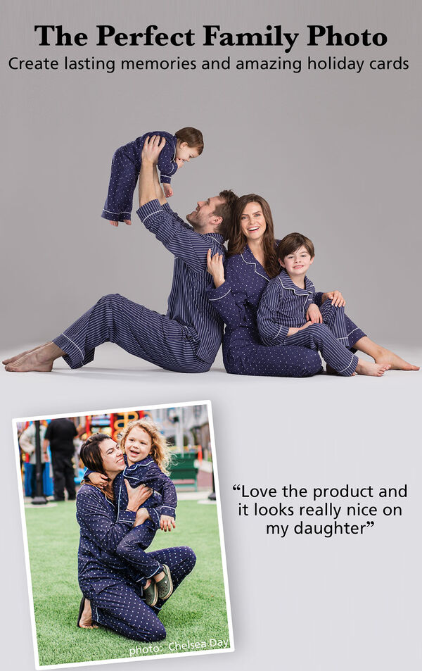 "Parents and children wearing Dots-n-Stripes Matching Family Pajamas. Headline: The Perfect Family Photo - Create lasting memories and amazing holiday cards. Customer quote: ""Love the product and it looks really nice on my daughter"" image number 3"